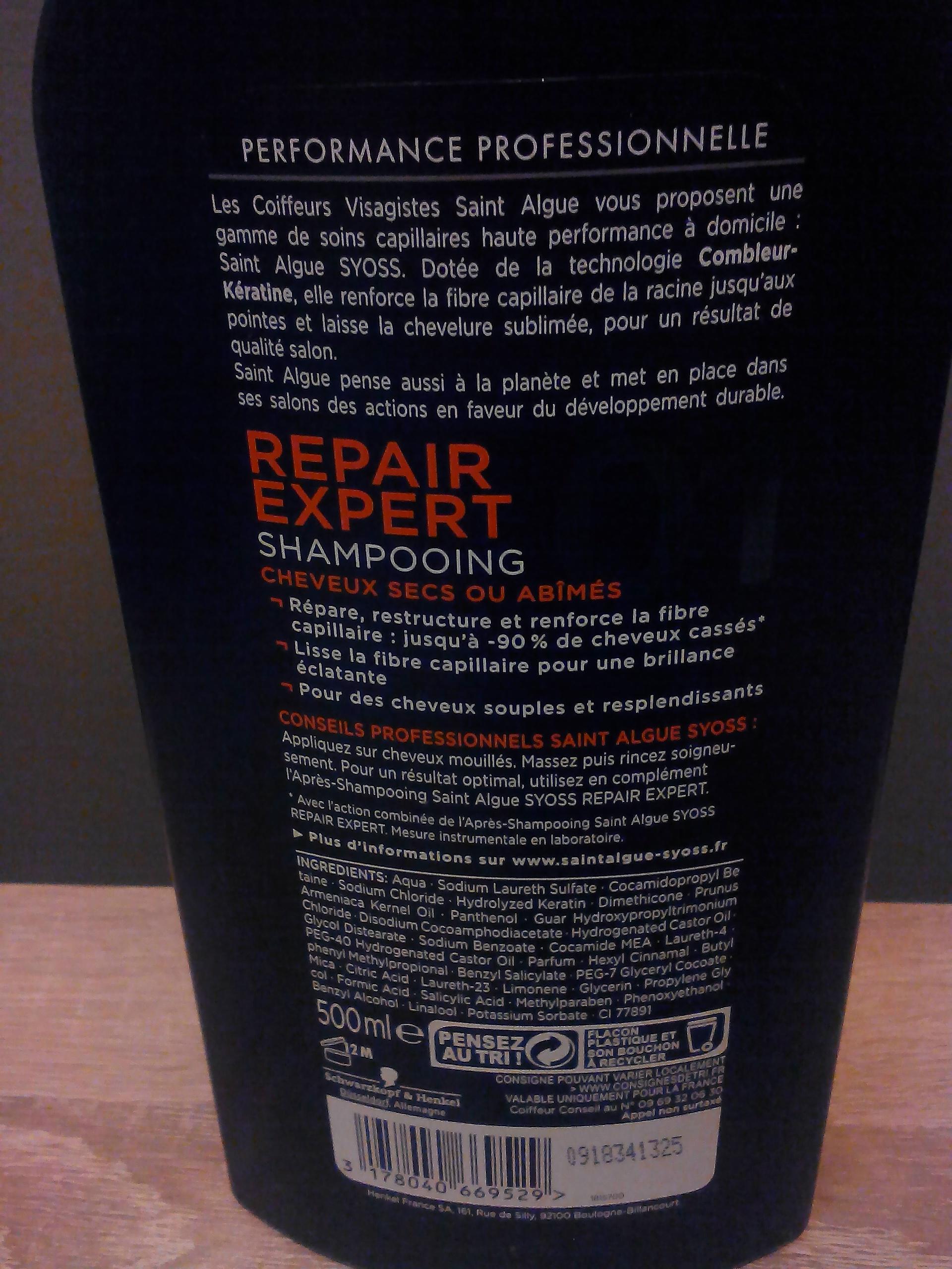 Shampooing Repair Expert de Saint Algue Syoss