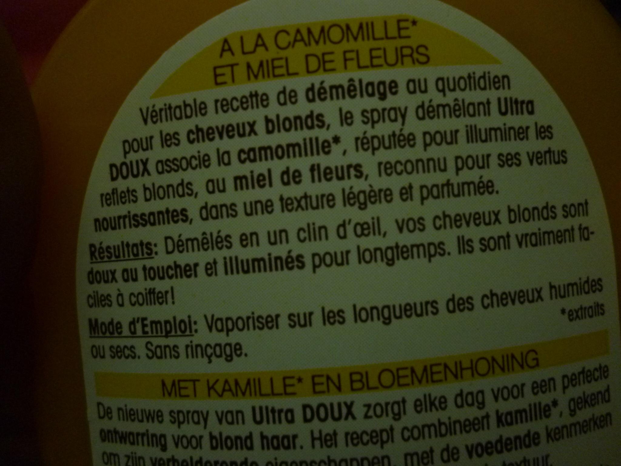 Spray démêlant sans rinçage Camomille Miel de Fleurs - Ultra Doux de Garnier