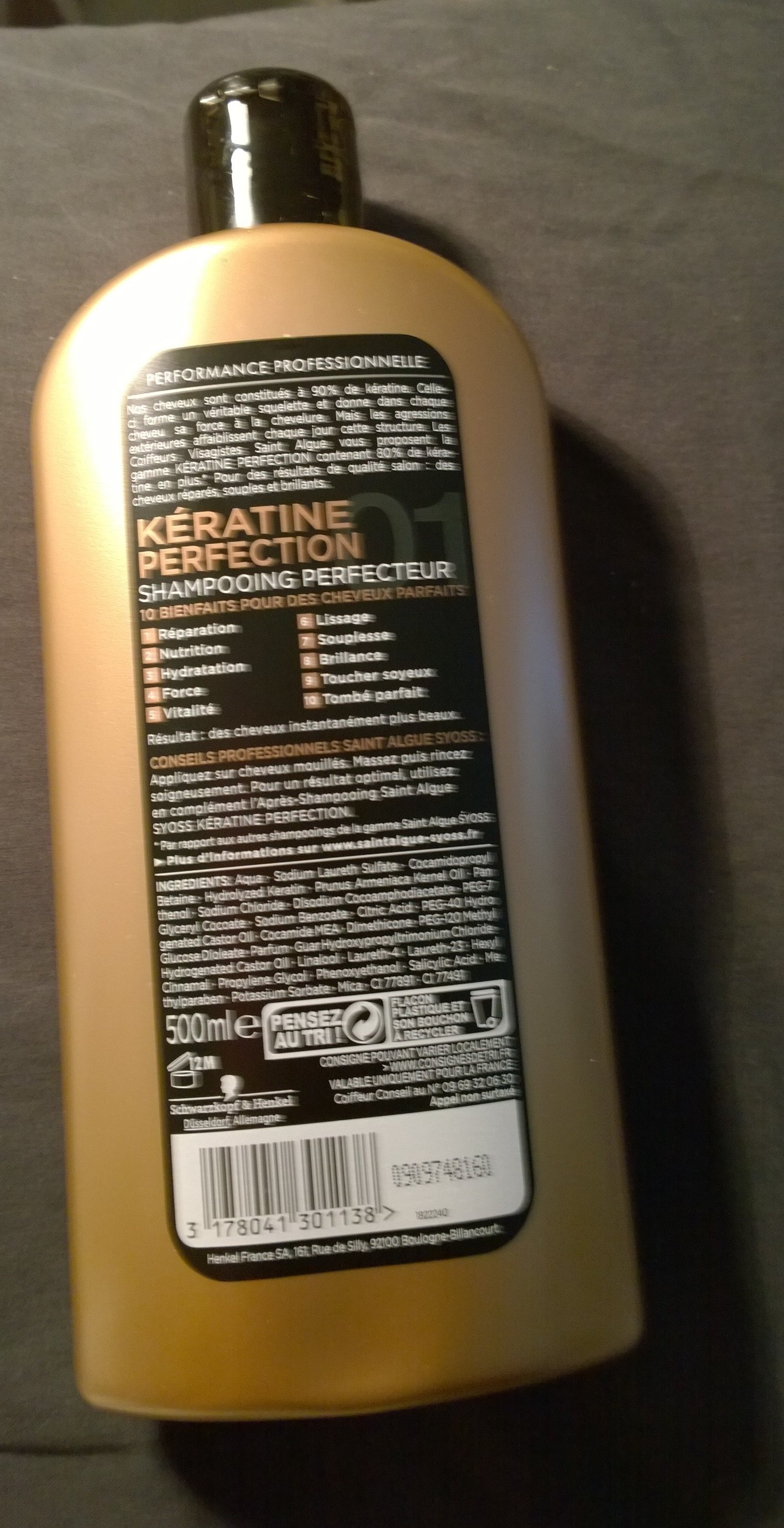 Shampooing Perfecteur - Kératine Perfection de Saint Algue Syoss